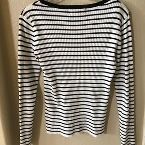 Striped white and black long sleeve shirt